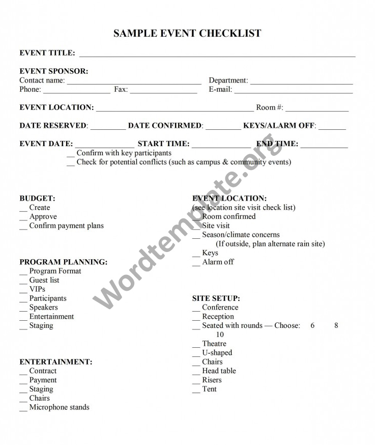 Event Planning Checklist Template  Free Microsoft Word Templates