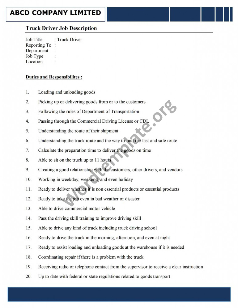 Truck Driver Job Description Template – Job Description Truck Driver