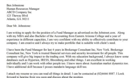 Cover Letter for Finance and Accounting Position